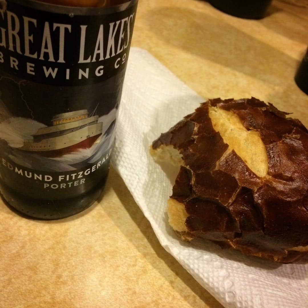 Wedding fuel: a sandwich on a pretzel roll and a @glbc_cleveland Edmund Fitzgerald