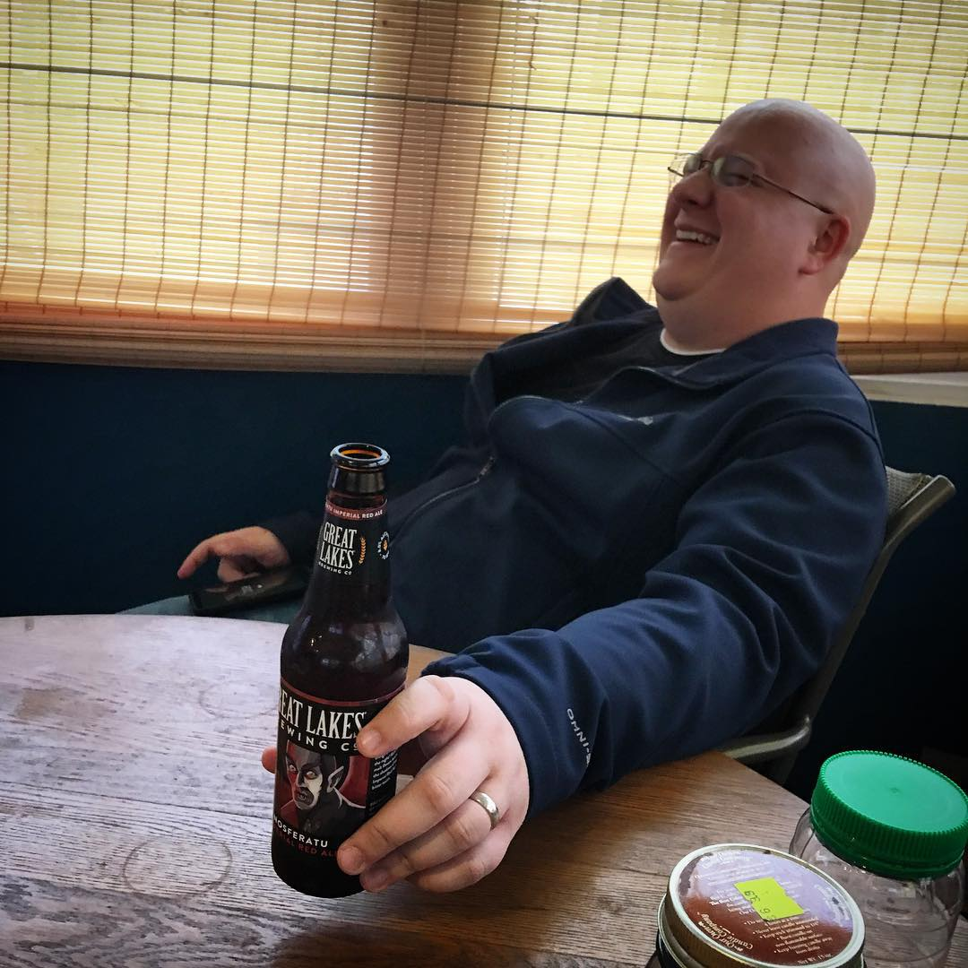 There is something amazing about having a beer with a friend. My buddy Chad (who is currently fighting cancer) and I were enjoying a @glbc_cleveland Nosferatu and a laugh yesterday. #goodbeerchangeslives