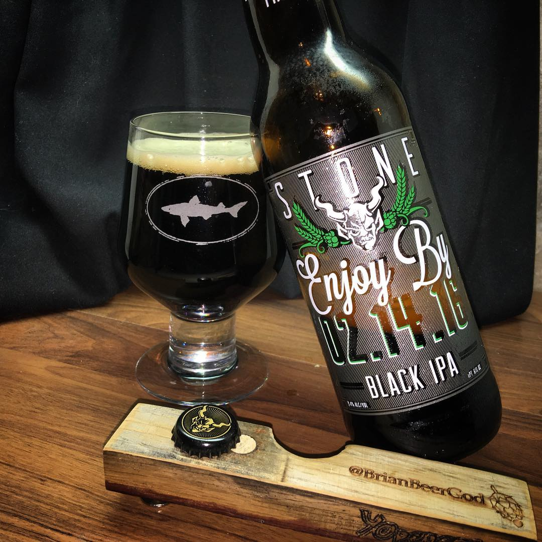 @stonebrewingco #EnjoyByBlackIPA - Holy crap. This is magnificent. Dark and bitey (a lot of resinous hops) with its dark roasty notes.