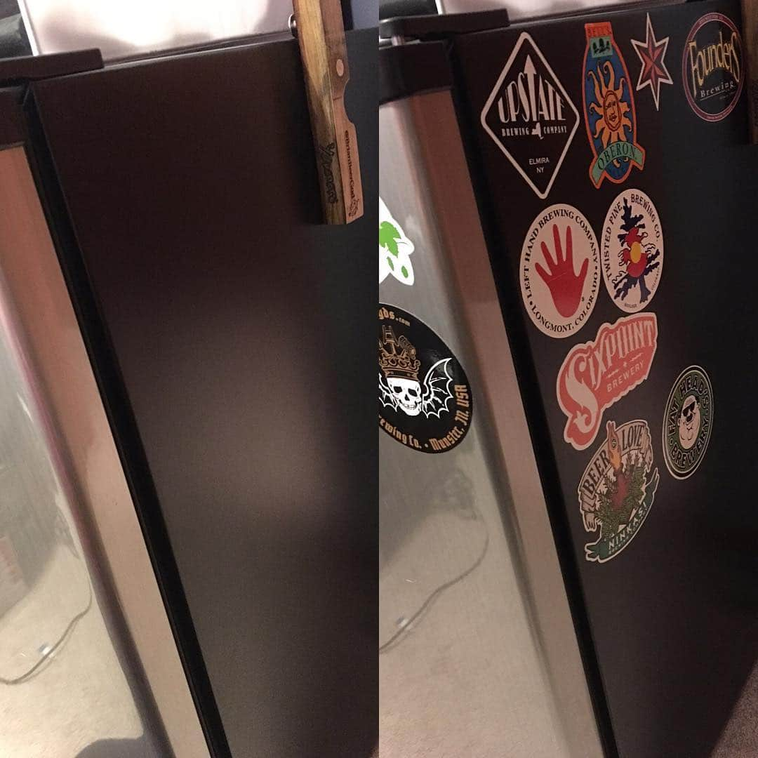 Best way to break in my new beer fridge! With stickers. I have more, but they're on my cooler.  Gonna have to start collecting these again. #beerfridge