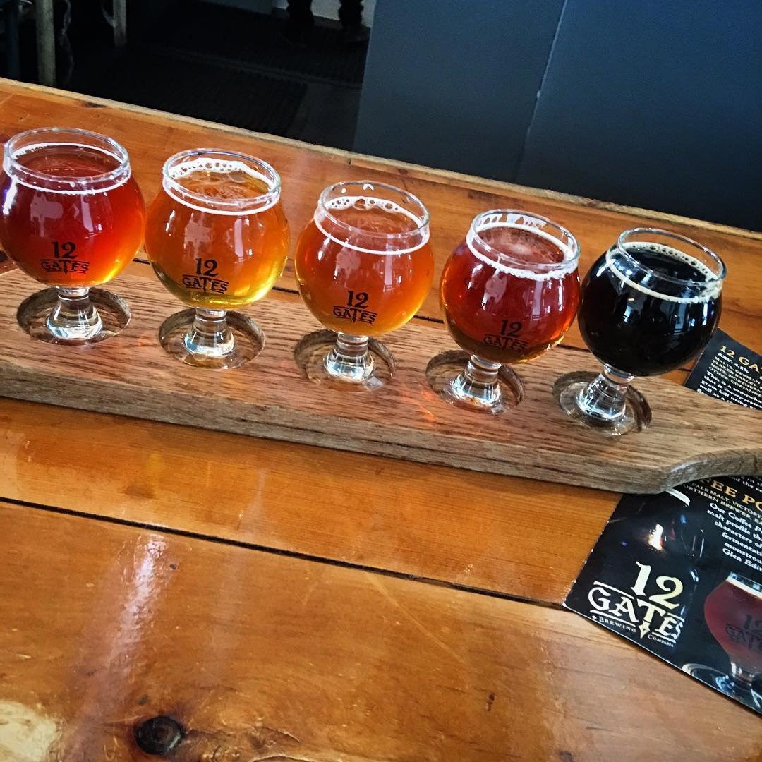 Flight at @12gatesbrewing - Bleeding Heart Red Rye, Session IPA, Under The Southern Cross IPA, West Coast IPA, Coffee Porter