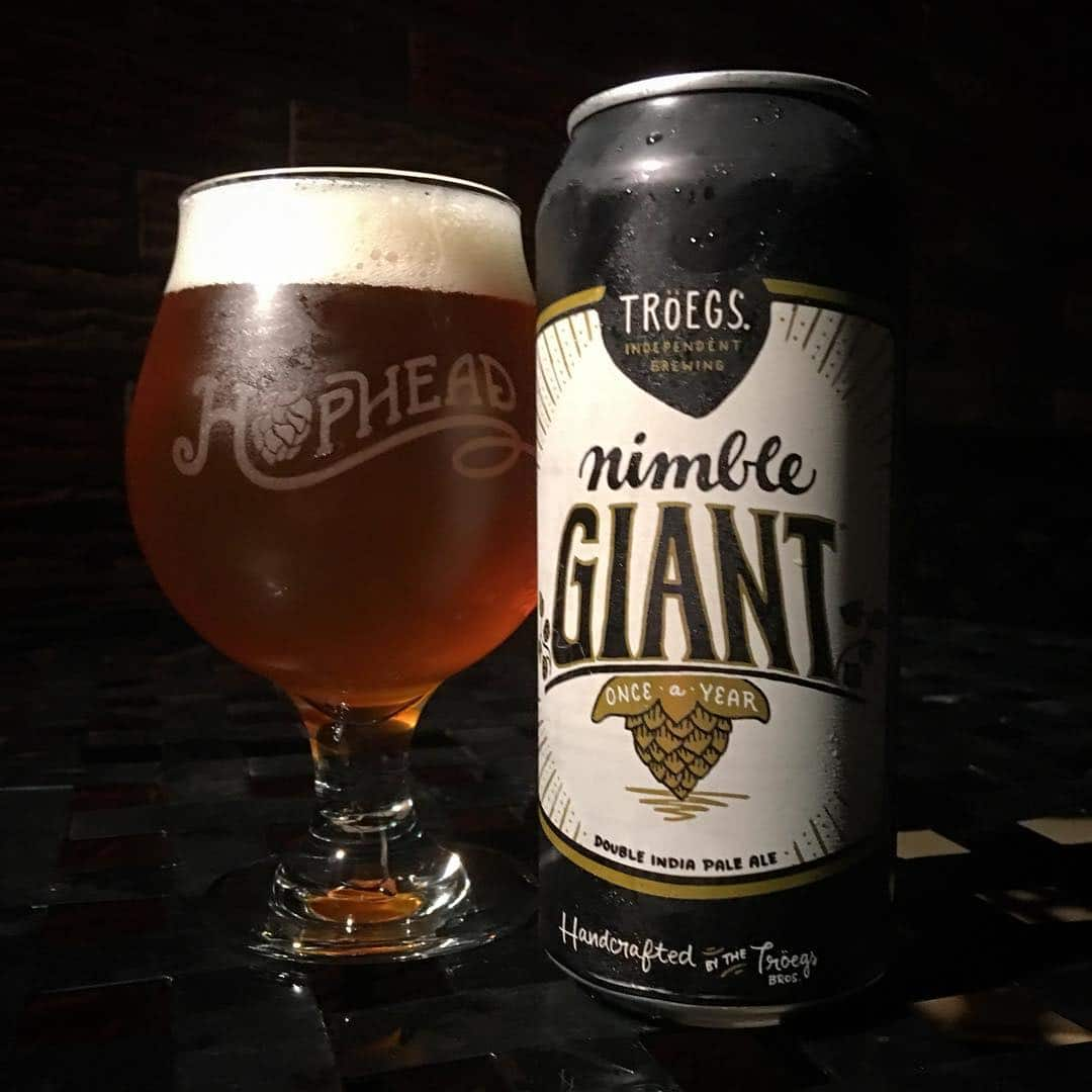 @troegsbeer Nimble Giant DIPA - really happy with this one. And loving my new @buffalobeermug #hophead glass