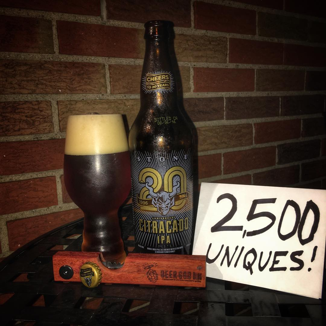 I hit the big leagues today. I had to have my @untappd #2500 unique be a Stone IPA - they opened my eyes to great tasting beer a few years ago and I never looked back.