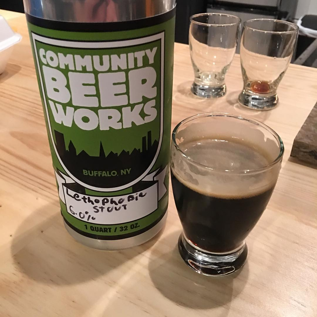 @communitybeer Lethophobic Stout - smoky nose with a nice hop profile.