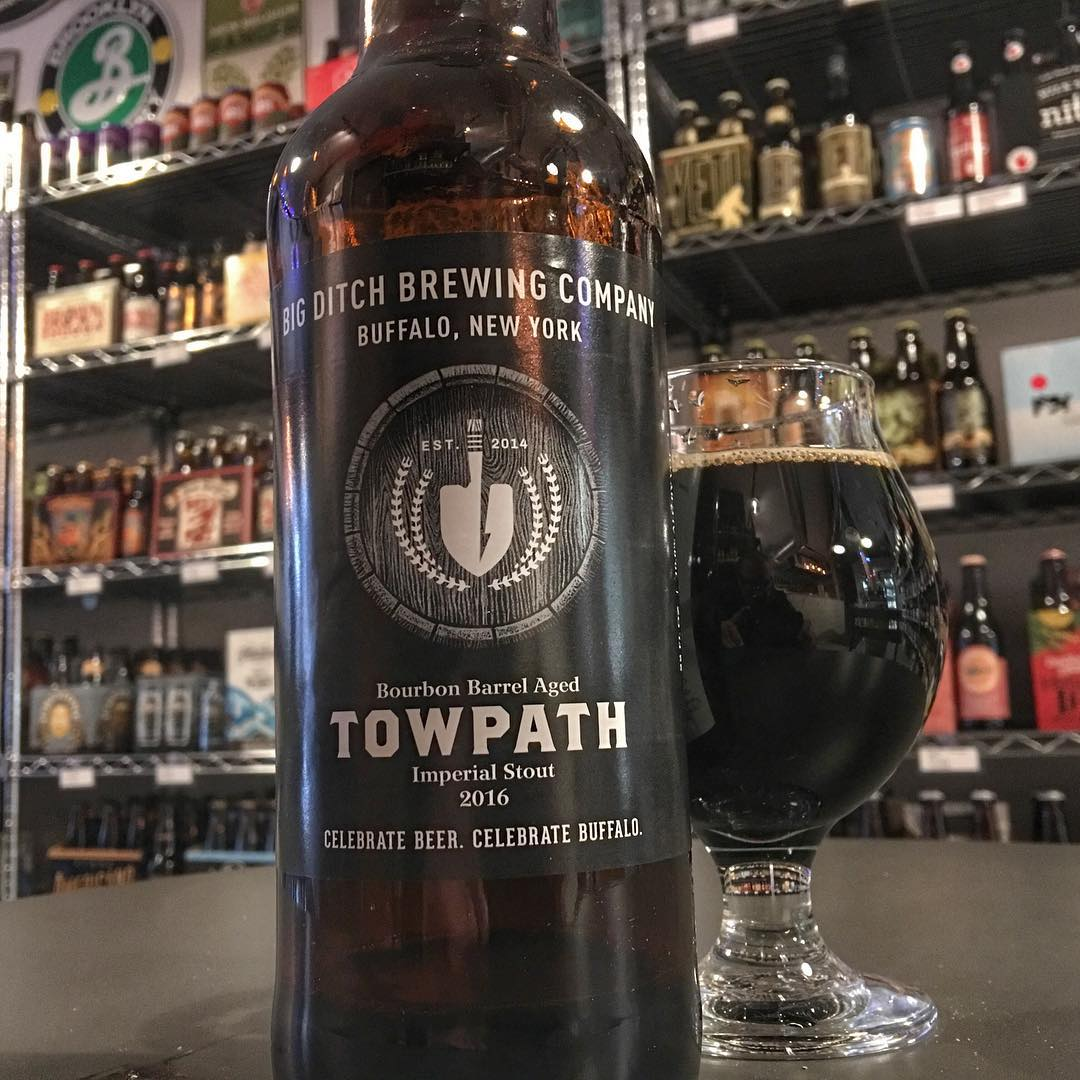 I'm REALLY glad I grabbed one of these today. Bourbon a Barrel Aged Tow Path Imperial Stout by @bigditchbrewing - lots of oak, the bourbon was really mild with not too much burn.