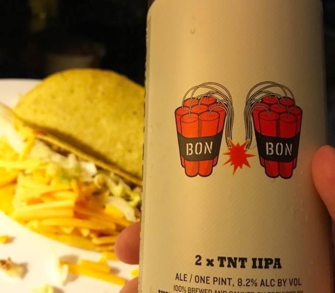 Food Pairing: Bon Bon 2xTNT IIPA by Singlecut Beersmiths & Ground Turkey Tacos